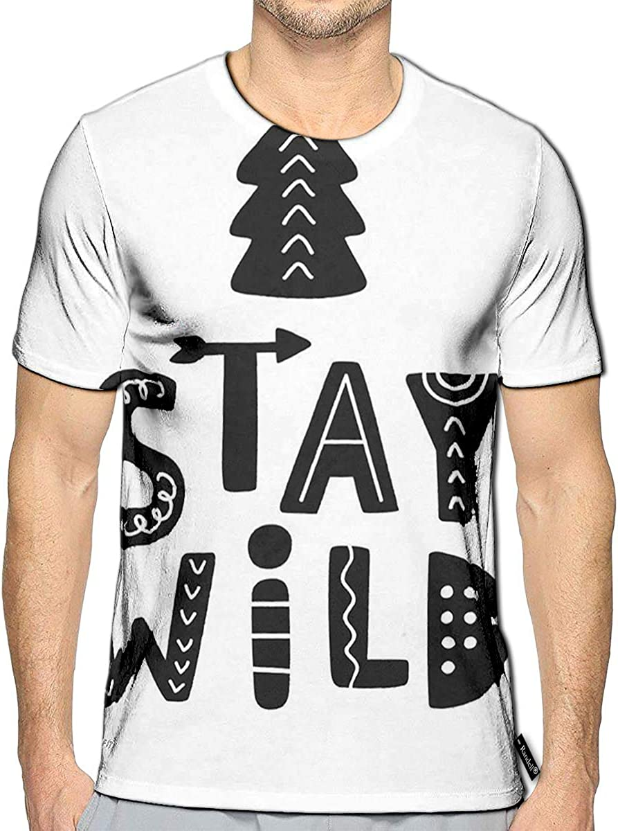 Randell 3D Printed T-Shirts Stay Wild Scandinavian Tribal Short Sleeve Tops Tees