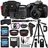 Canon EOS Rebel T7i DSLR Camera with EF-S 18-55mm f/4-5.6 IS Lens and 2 X 32GB, 58mm Telephoto & Wide-Angle Lens, Filters, Tripod, Cases, Flash, Remote, Xpix Lens Accessories