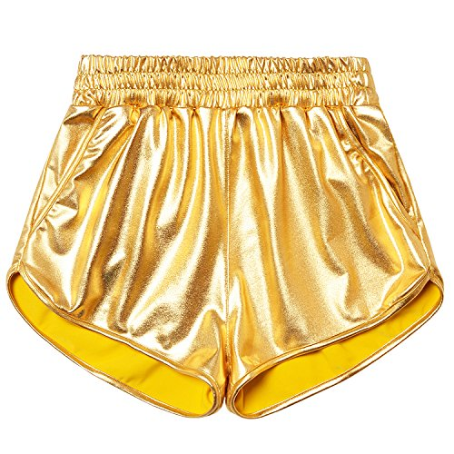 Juniors Gold Metallic Shorts Shiny Sparkly Dance Hot Pants for Teen Girls 12 13]()