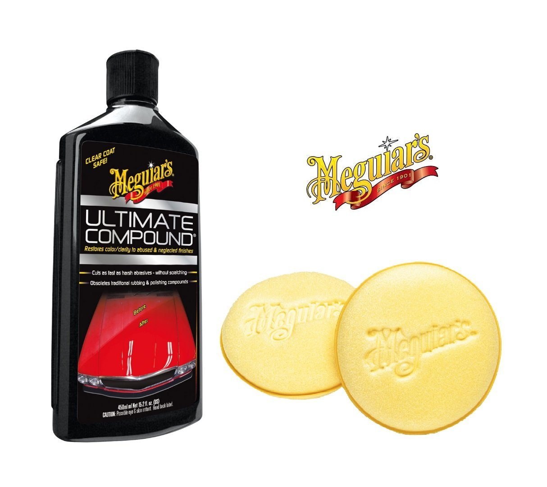 Praktisches Lackpflege-Set! MEGUIAR'S Lackreiniger ULTIMATE COMPOUND 450 ml + AUFTRAGSSCHWAMM (2er) MEGUIAR' S