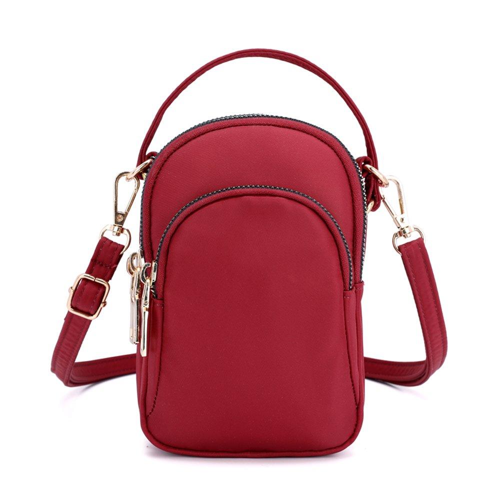 Ladies Girls Nylon Design Small Crossbody Shoulder Bag Wristlet Handbags Phone Pouch Handbag (Black) SY-02B27
