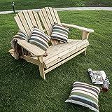 Dreamyth Home Outdoor Living Leisure Fir Wood Double Recliner Seat 50.4X35X34.3'' Durable,American Warehouse Shippment Beige