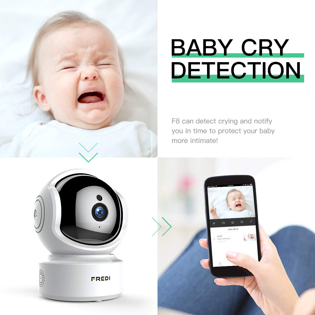 FREDI Baby Monitor 1080P Wireless Security Camera, WiFi Home Security Camera Surveillance HD IP Camera with Motion Detection,Two-Way Audio,Night Vision,Pan Tilt,Cloud Storage,Micro SD Slot