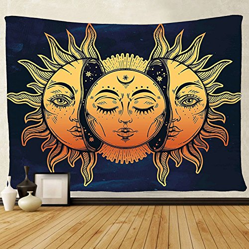 - tenaly Tapestry Wall Hanging, sun and moon Psychedelic small Wall Tapestry with Art chakra Home Decorations for Bedroom Dorm Decor in 51x60 Inches