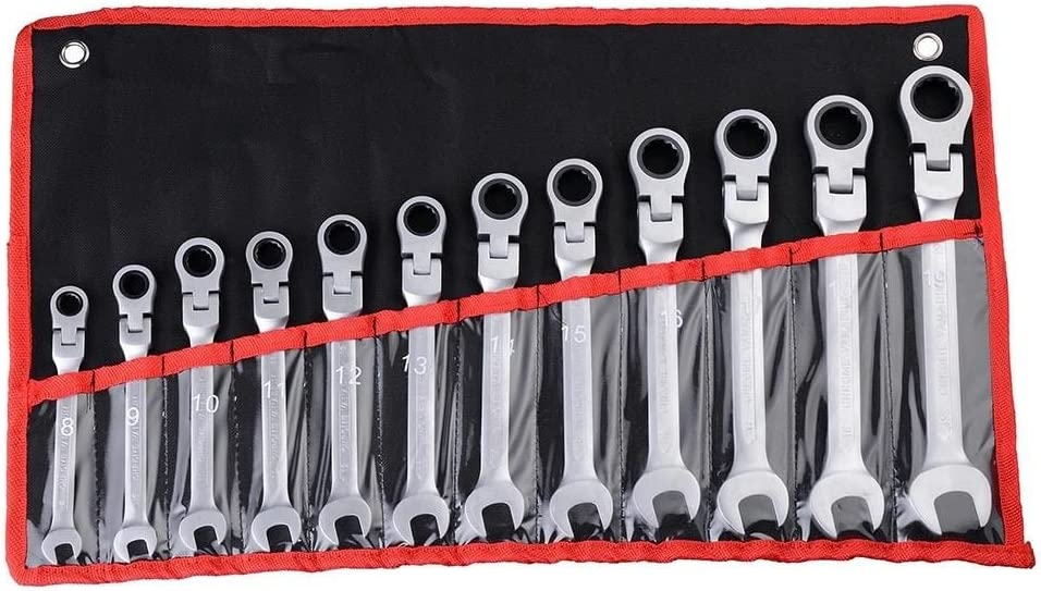 12pc 8-19mm Metric Flexible Head Ratcheting Wrench Spanner Combo Tool Set