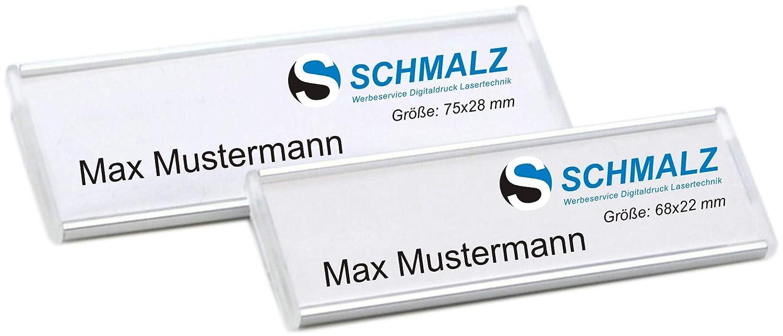 selbstbeschriftbar 10 St/ück Modisches gew/ölbtes Namensschild aus eloxiertem Aluminium Gr/ö/ße 65x20 mm mit Magnet Befestigung Name Badge Namensschilder f/ür Kleidung