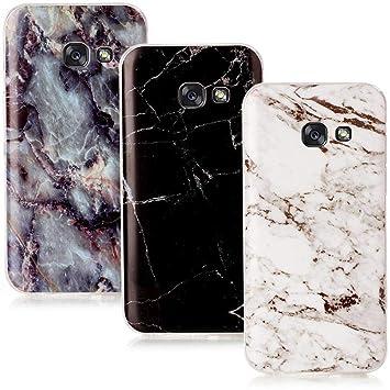 CLM-Tech 3in1 Zubehör Set: 3 x TPU Gummi Hülle für Galaxy A5 (2017) Schutzhülle Marmor Muster schwarz weiß bunt