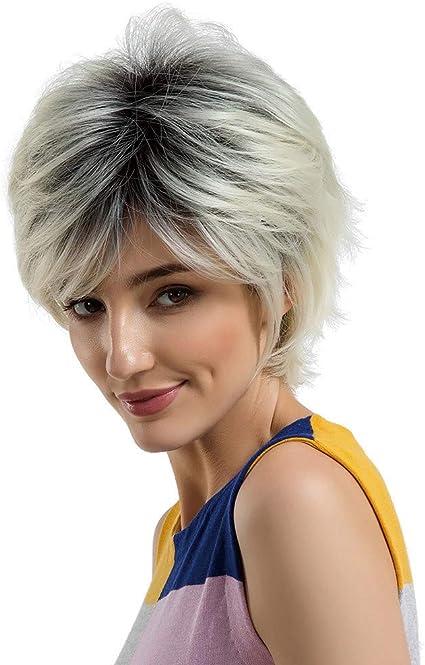 Zycshang Peluca de pelo corto de color beige/plateado para ...