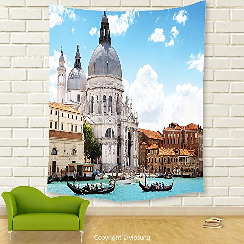 Vipsung House Decor Tapestry_Turquoise Venice Italy Decor Grand Canal And Basilica Santa Maria Della Salute Print Turquoise Blue White_Wall Hanging For Bedroom Living Room (Canal Panda Halloween)
