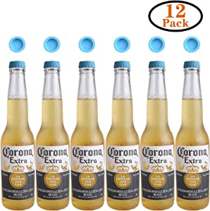Joso Bottle Caps, Beer Saver Silicone Rubber Bottle Cap, Soda Bottle Stopper Hat, Reusable Reseal, 12 Pack Blue for Beer, Soda, Soft Drink, Wine, Home Brewing, Kitchen Gadgets Kit 1.18in