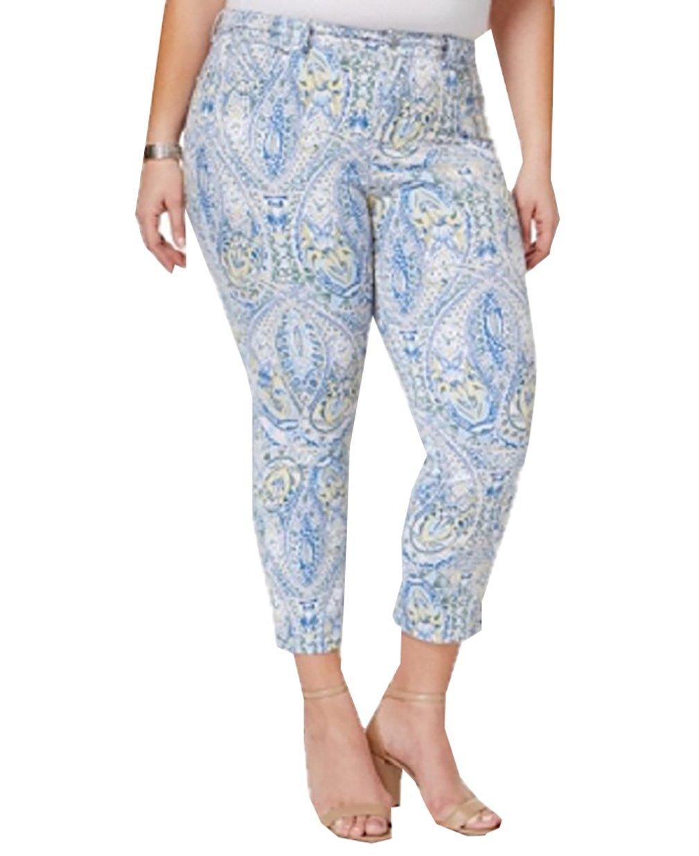 Charter Club Womens Plus Bristol Denim Printed Capri Jeans Blue 14W