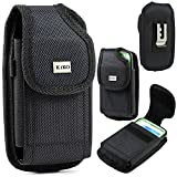 iphone 5 belt case leather - Apple iPhone 5S, 5C, 5 Black Premium Vinyl Leather Carrying Holster Belt Clip Loop Pouch Case Cover Fits Otterbox Defender Series and Lifeproof Cover on for Apple iPhone 5S, 5C, 5