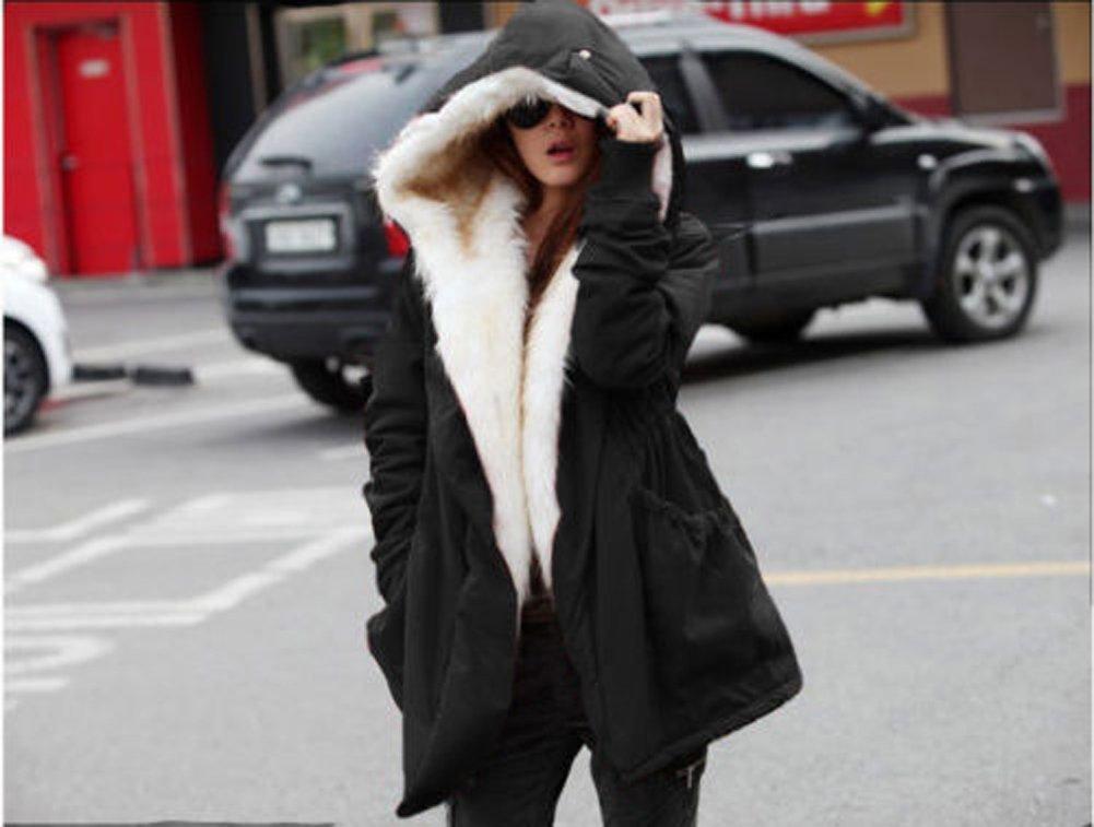 Roiii Women Thicken Warm Winter Coat Hood Parka Overcoat Long Jacket Outwear Black Medium Black Medium by Roiii (Image #7)