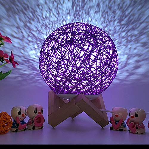 (Becoler Rattan Moon Night Light, 3D USB Charging LED Creative Lamp Booklight Light Moonlight Table Desk Fashion Colorful Moon Lamp)