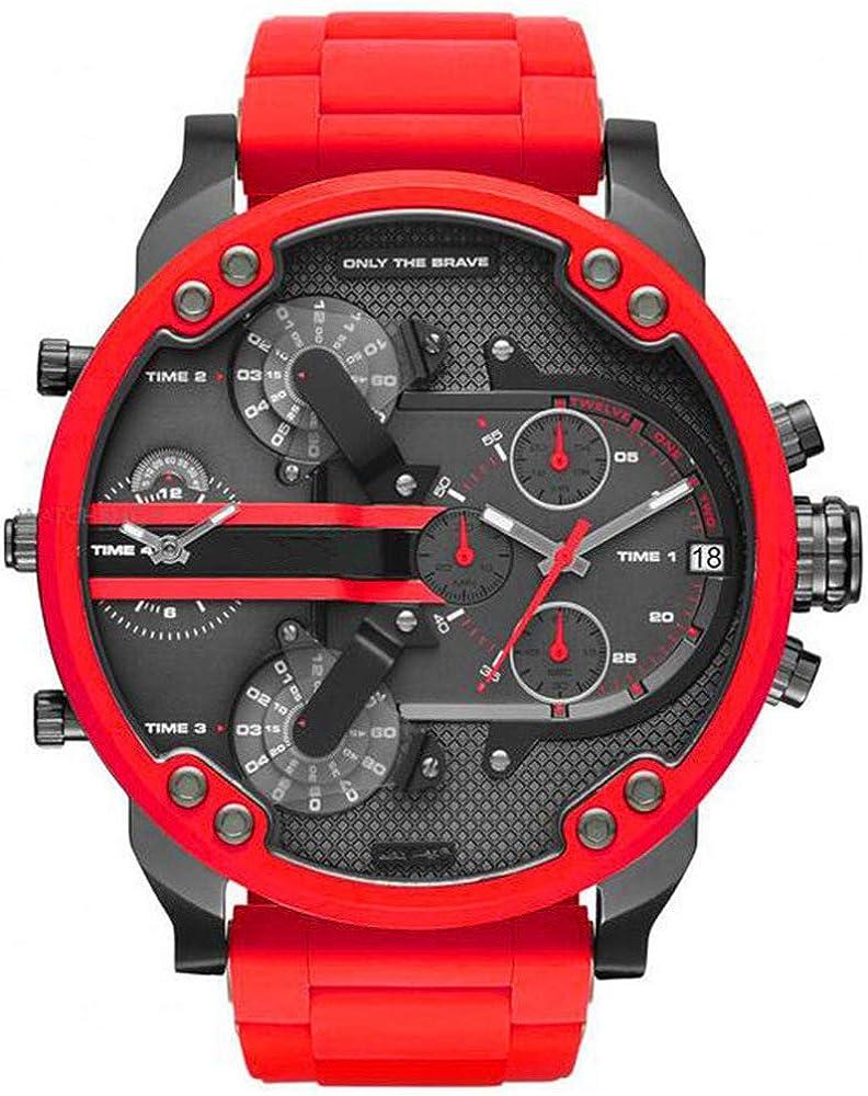 WHBLSKY - Reloj de Cuarzo para Hombre, Esfera Grande, Mecanismo Doble, Correa de Acero, Color Rojo
