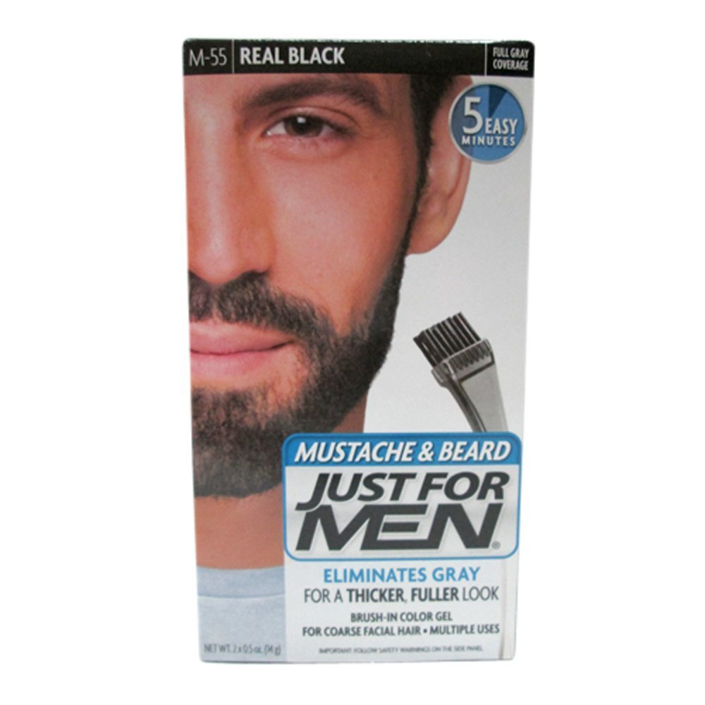 Just For Men Mustache and Beard Brush-In Color Gel, Real Black (Pack of 3) 011509049056