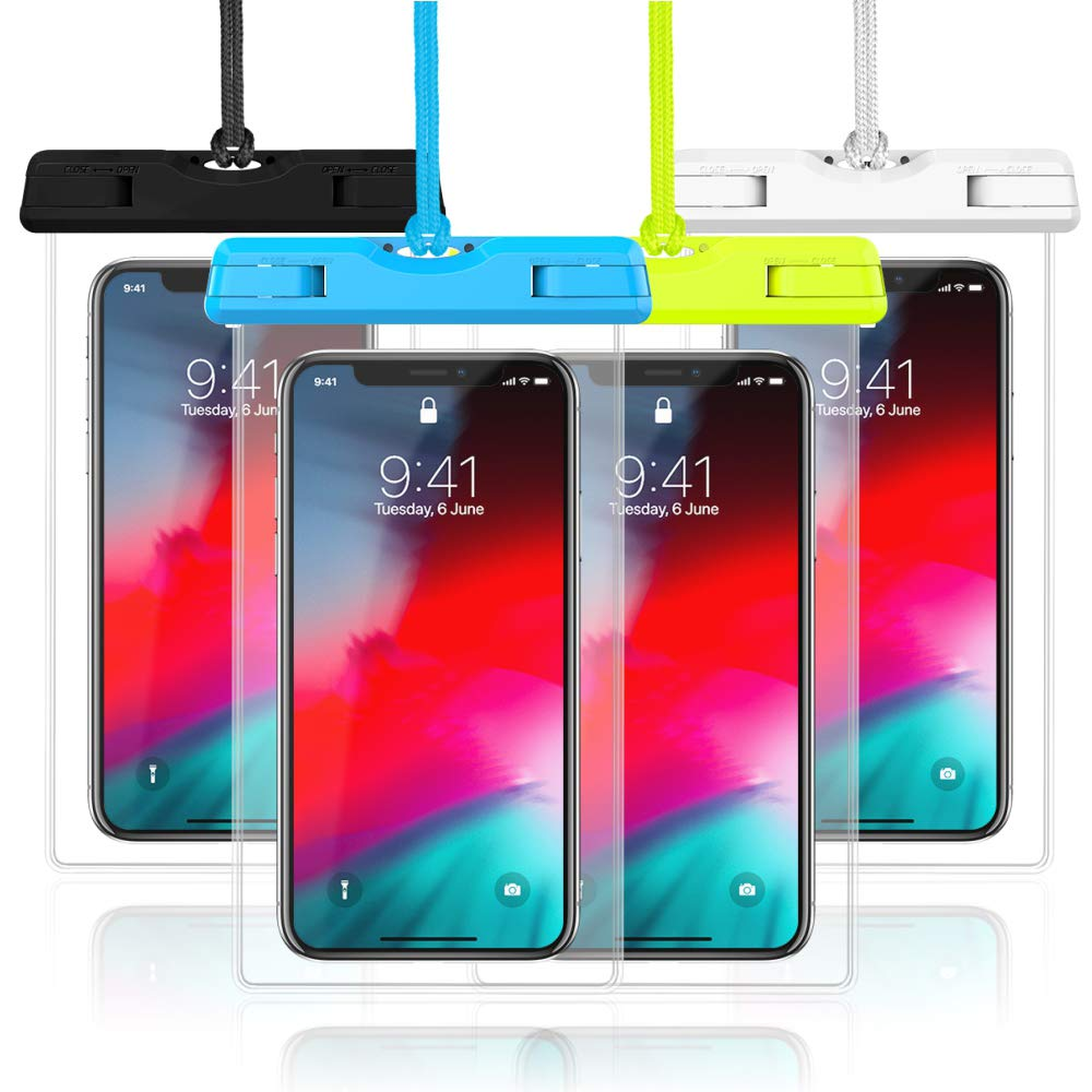 Waterproof Case, Veckle 4 Pack Waterproof Phone Pouch Universal Clear Water Proof Dry Beach Bag for OnePlus 7, iPhone X 8 7 6S 6 Plus, Samsung Galaxy S9 S8 S7 S6 Black White Blue Green by Veckle