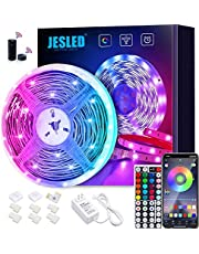 JESLED WiFi LED Strips Lights for Bedroom 5m, 5050 RGB LED Rope Lights with 44 Keys RF Remote Controller, Compatible with Alexa and Google Home, Smart Color Changing Tape Lights for Home TV, Party, Decoration