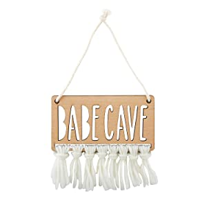 Stephan Baby Hanging Beechwood Nursery Sign Available in 4 Designs, Babe CAVE
