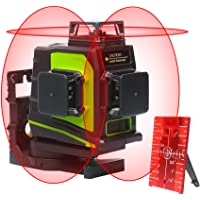 Huepar 3D Self-Leveling Laser Level 3x360 Red Cross Line Three-Plane Leveling and Alignment Laser Level Tool -Two 360° Vertical and One 360° Horizontal Line -Magnetic Pivoting Base GF360R