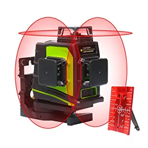 Huepar 3D Self-Leveling Laser Level 3x360 Red Cross Line 100Ft Three-Plane Leveling and Alignment Laser Level Tool -Two 360° Vertical and One 360° Horizontal Line -Magnetic Pivoting Base GF360R