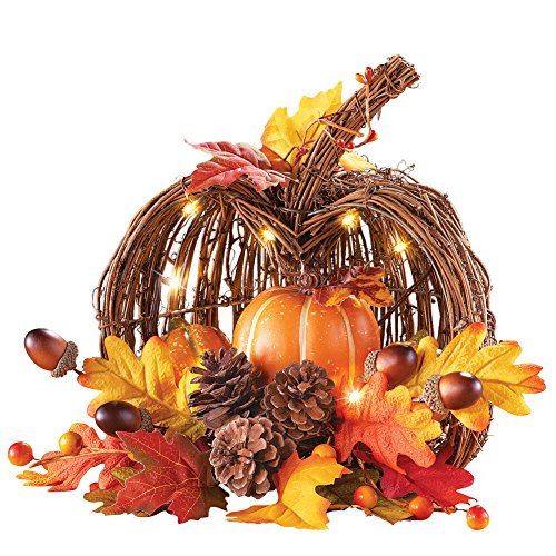 Collections Etc Lighted Rustic Wicker Pumpkin Fall Harvest Tabletop Arrangement (Fall Arrangements With Pumpkins)