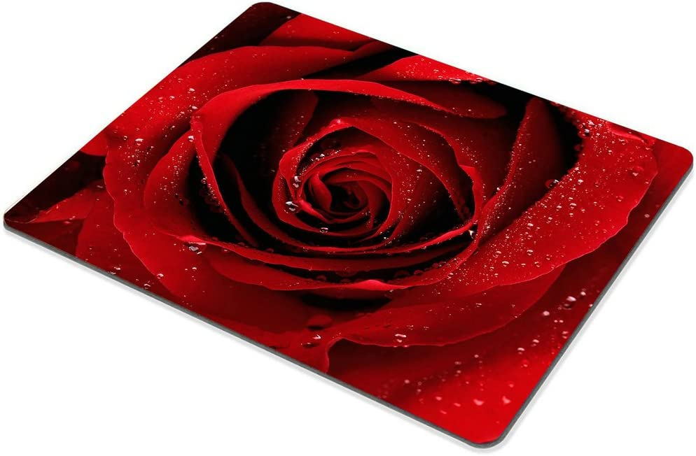 Smooffly Flower Gaming Mouse Pad,Red Rose with Water Droplets Customized Rectangle Non-Slip Rubber Mousepad Gaming Mouse Pad