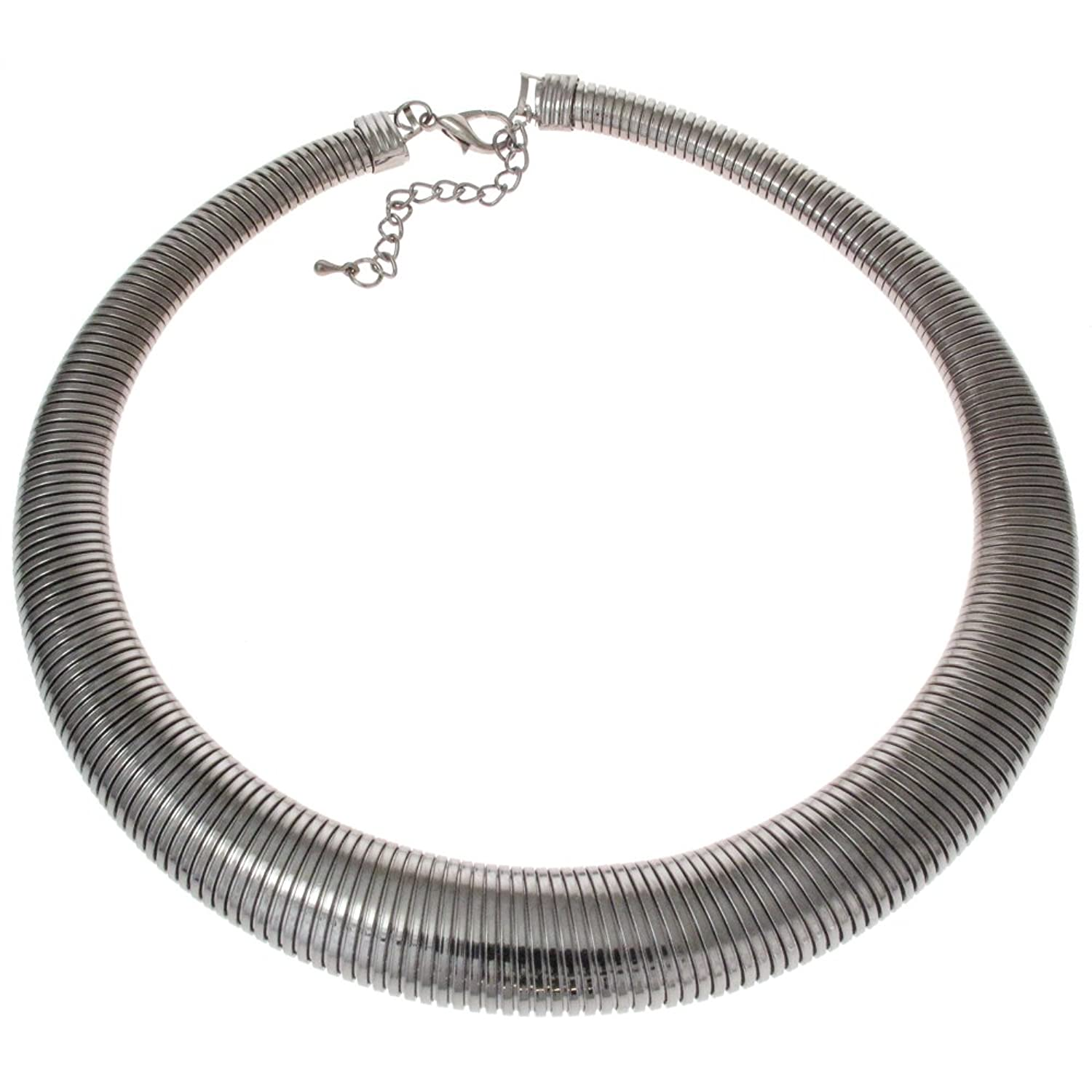 Fashion Flexi Gunmetal Snake Choker Collar Necklace gUSYss