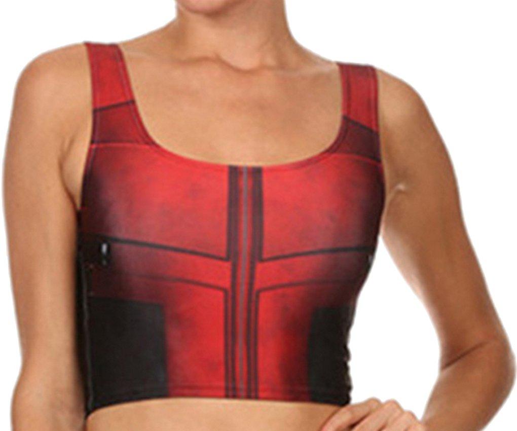 Thenice Women's Deadpool elasticity Leggings Pencil Pants Vest suit (S, Vest)