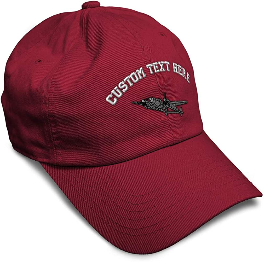 Custom Soft Baseball Cap Plane P-38 Lightning Embroidery Twill Cotton