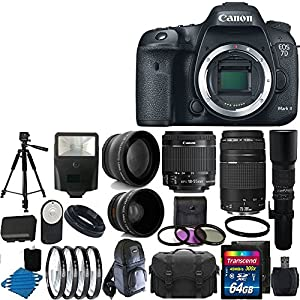 Canon EOS 7D Mark II 20.2MP Digital SLR Camera Full HD 1080p/60 Video with 18-135mm IS STM Lens Lens Kit UV Filter Kit With Extra Battery & Charger + Case +Tripod + Monopod with 32GB Complete Deluxe Accessory Bundle And Much More!