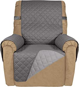 PureFit Reversible Quilted Recliner Sofa Cover, Spill, and Water Resistant Slipcover Furniture Protector, Washable Couch Cover with Adjustable Strap for Kids, Pets (Recliner, Gray/Light Gray)