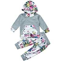 DaySeventh Baby Girls' Clothes Set Floral Hoodie Tops+Pants Outfits