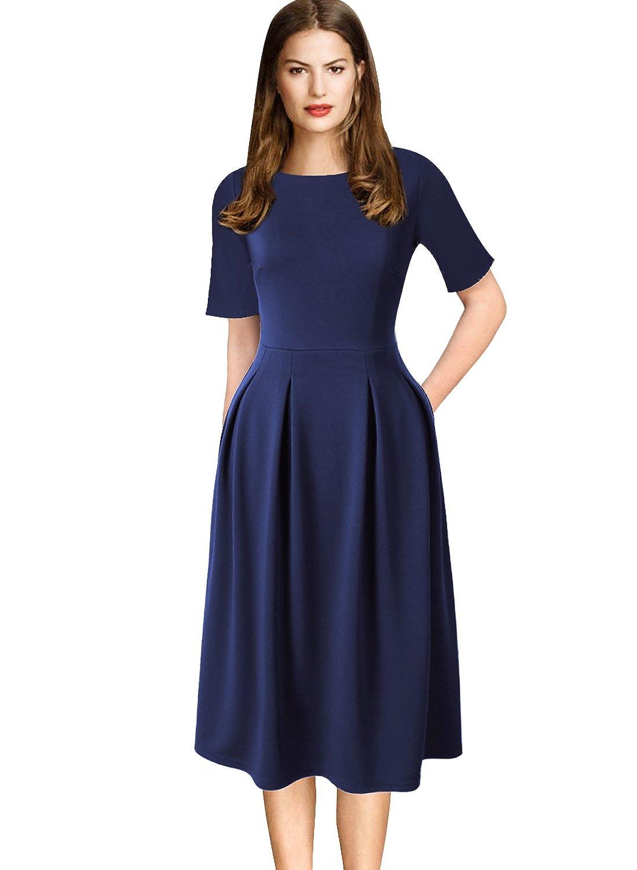 Dark bluee VfEmage Womens Vintage Summer Polka Dot Wear To Work Casual Aline Dress