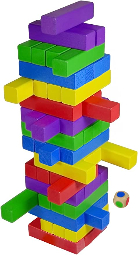 Original Edition CoolToys Timber Tower Wood Block Stacking Game 48 Pieces