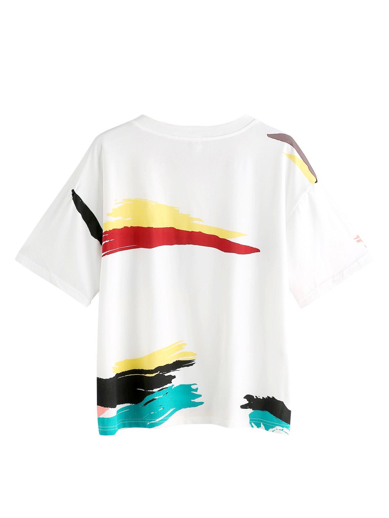 83f185170fd Romwe Women s Cute Graffiti T-Shirt Color Print Tee Top   Knits   Tees    Clothing