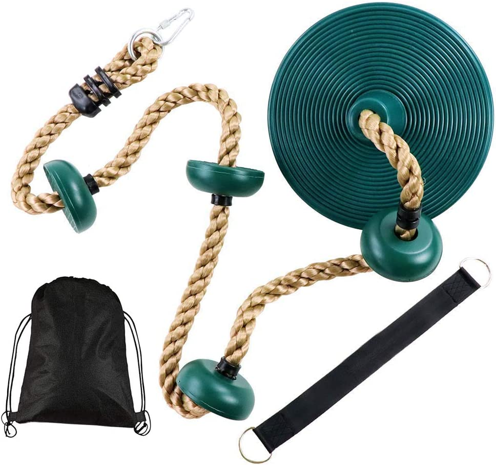 Tuahoo Gym 6.5 ft Kids Climbing Rope with Platform Disc Rope Swing with Carabiner & Hanging Strap for Jungle Gym Outdoor Tree Swing Playground Equipment Playset (Green)
