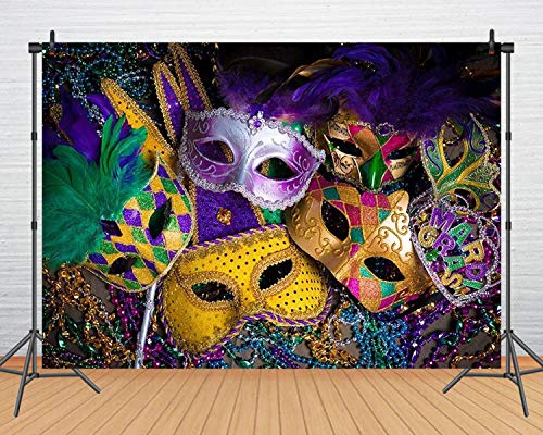 Mardi Gras Mask Colorful Photography Backdrop Mystery Carnival Masquerade Backgrounds Thin Vinyl Birthday Dancing Party Banner Photo Booth for Wedding, YouTube Video 61(7x5) ()