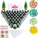 Russian Piping Tips Baking Supplies - 112 pcs - Complete set of 60 Cake Icing Frosting Nozzles + 50 Piping Bags + Coupler + Storage Box - Buttercream Flowers for Cupcake Decoration