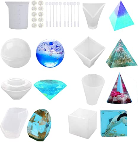 Square Pyramid Silicone Resin Molds 5Pcs Resin Casting Molds Including Sphere Soap Round with 1 Measuring Cup /& 5 Plastic Transfer Pipettes for Resin Epoxy Candle Wax Cube Bowl Mat etc