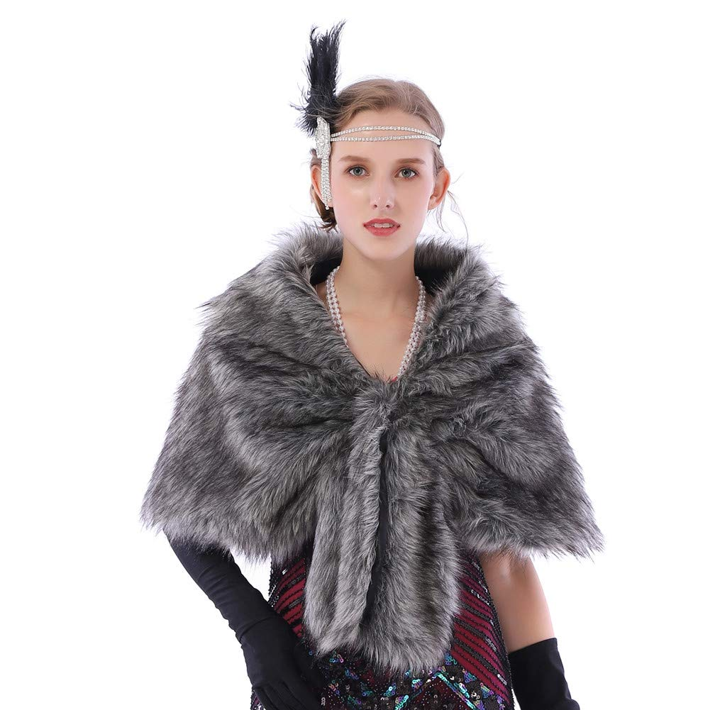 b1347b80a Dikoaina Luxury Faux Fur Shawl Wrap Stole Scarf Shrug Cape for Winter  Bridal Wedding