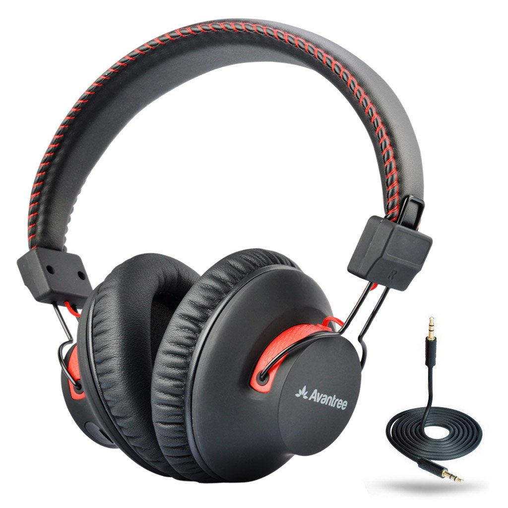 Avantree 40 hr Wireless/Wired Bluetooth 4.0 Over-The-Ear Headphones/Headset with Mic, aptX Hi-Fi, Extra Comfortable and Lightweight, NFC, Dual Mode - Audition [2-Year Warranty]