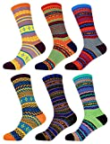 Women's Vintage Style Knitted Colorful Cotton Crew Socks - 6A-L, Size L - 6 prs