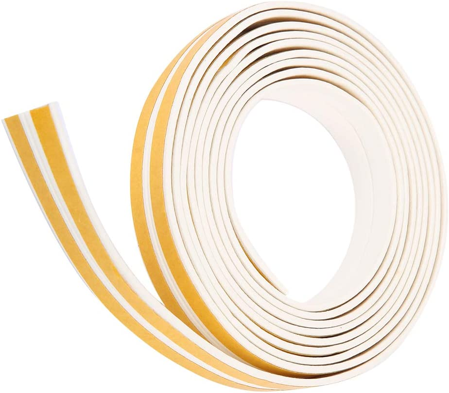 Door Seal Weather Stripping White 5M Self-adhesive I Type Foam Collision Avoidance/ Door Draft Stopper Window Seal Weather Stripping Door Seal Door Weather Seal Sealing Strip for Window /& Door