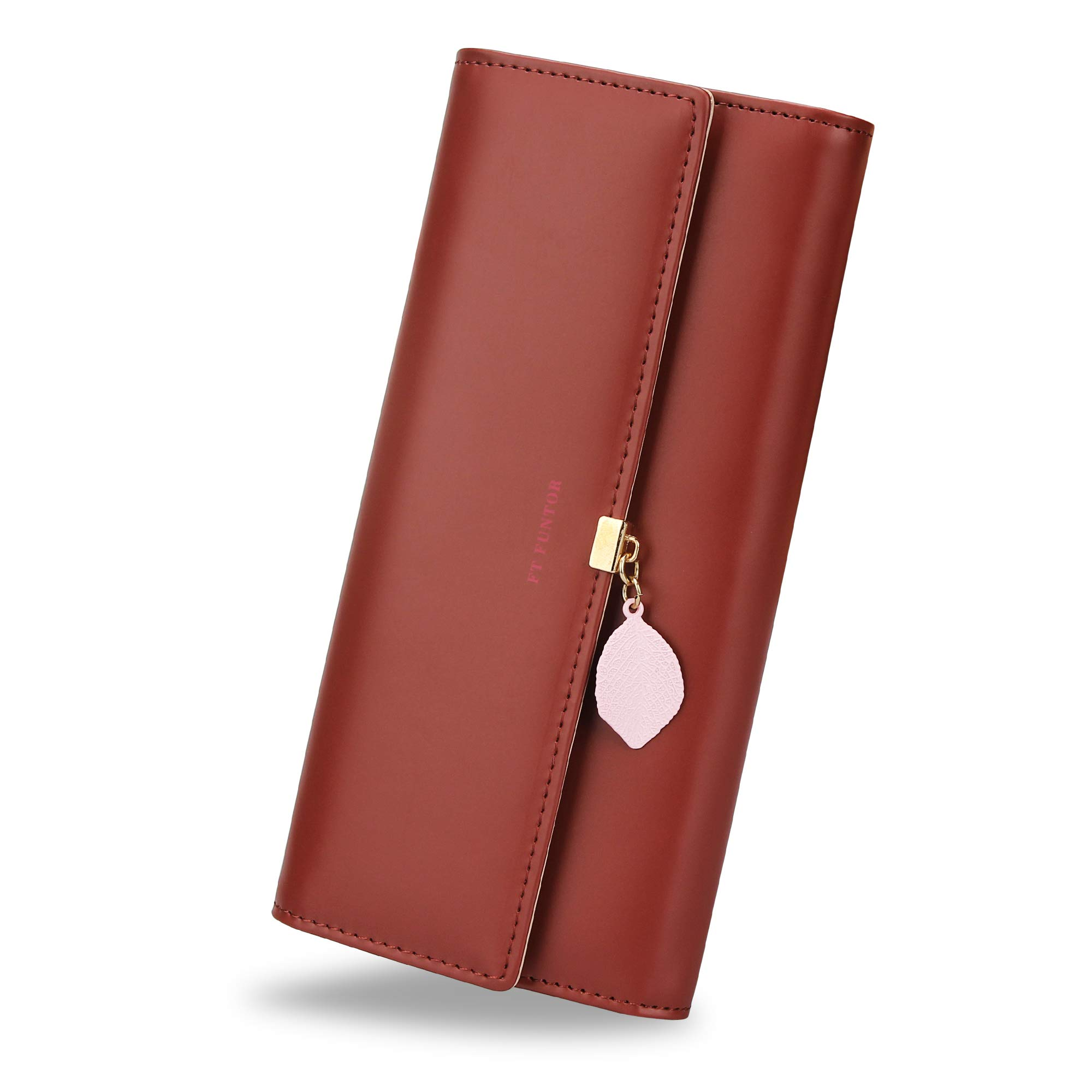 FT Funtor RFID Wallets for Women, Leaf Card Holder Trifold Ladies Wallets Coins Zipper Pocket with ID Window Large Wine Red