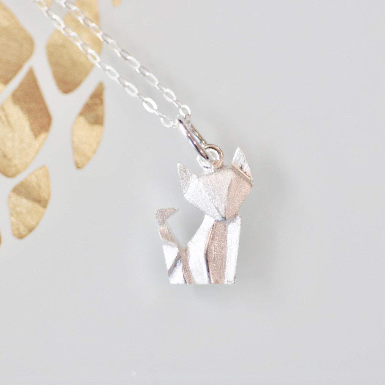 Origami Fox Necklace in Sterling Silver with 16 Inch Chain