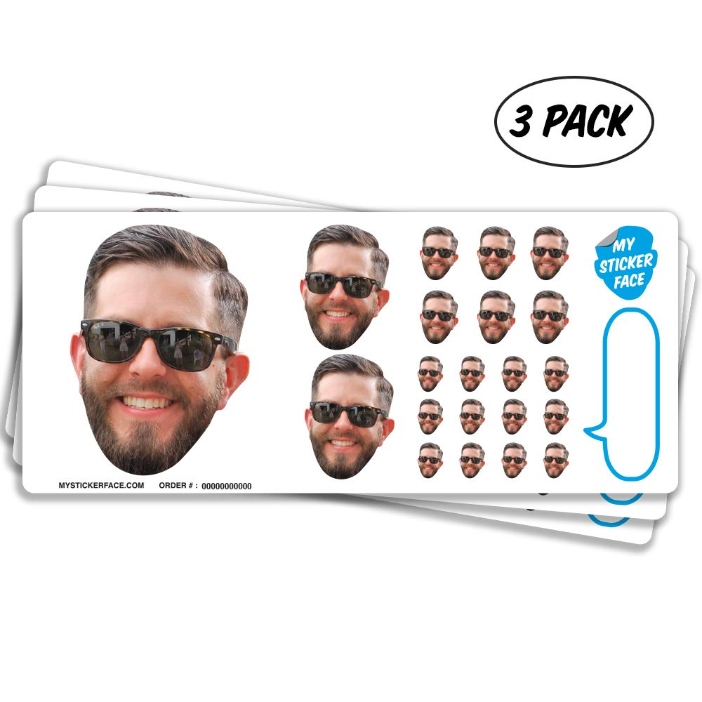 Custom Photo Stickers, Face Stickers, Stickers of Your Face, Sampler Sheet - 3 Pack - Pet Gift, Stocking Stuffer