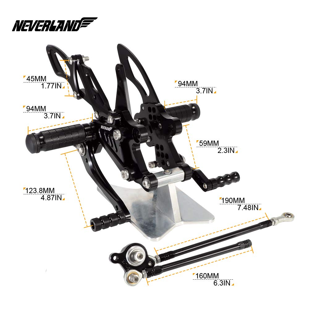 NEVERLAND CNC Motorcycle Adjustable Rearsets Footpegs Rear Sets for HONDA CBR1000RR 2004-2007//CBR600RR 2003-2006 Black