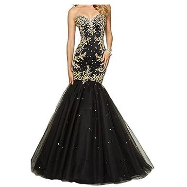 Chady Crystal Beaded Black Sweetheart Mermaid Prom Dresses 2018 Gold ...