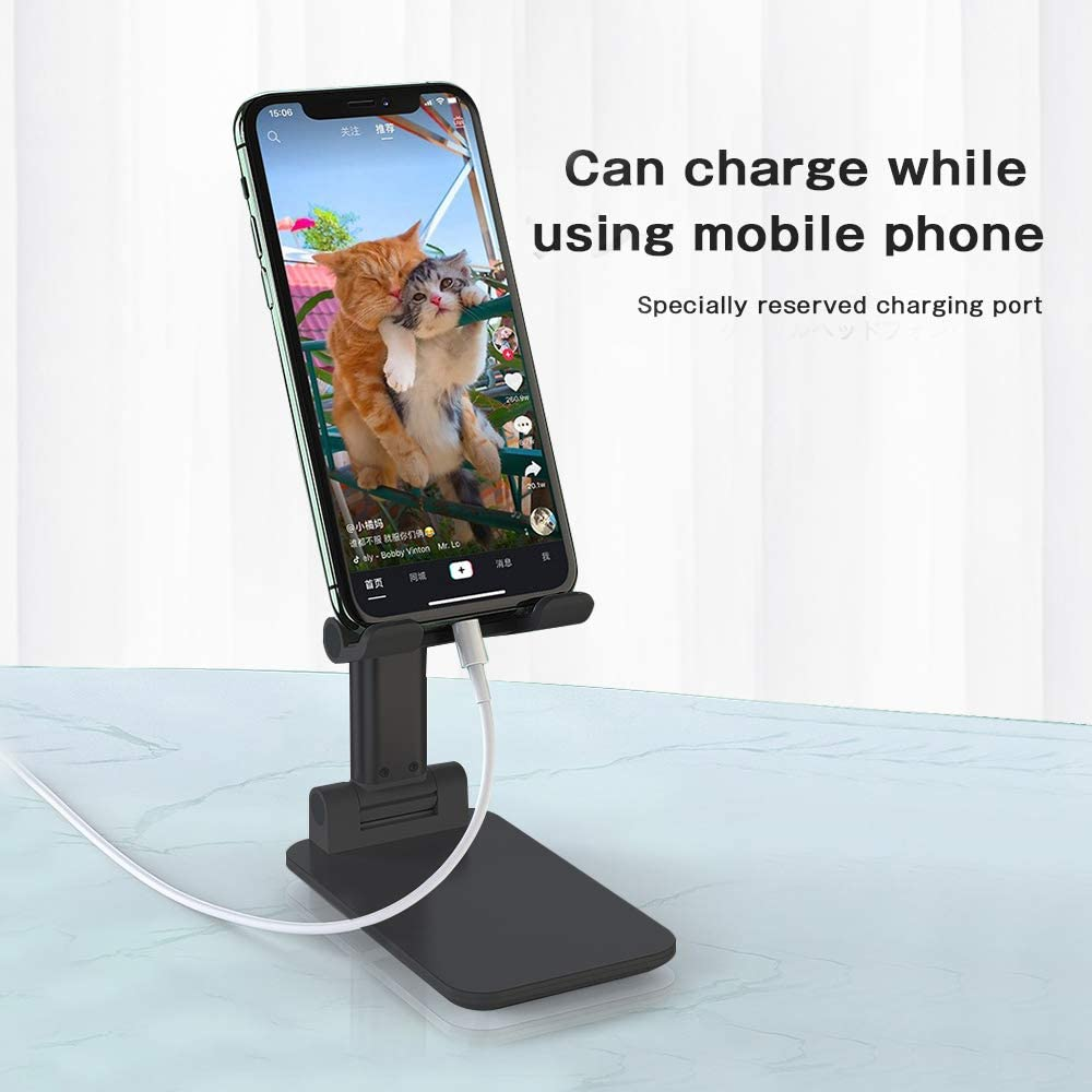 TopACE Foldable Portable Desktop Stand Cell Phone Stand Adjustable Cell Phone Stand Pearl White Phone Holder Stand for Desk Sturdy Aluminum Metal Stand for Phone//iPad//Kindle//Tablet//Switch